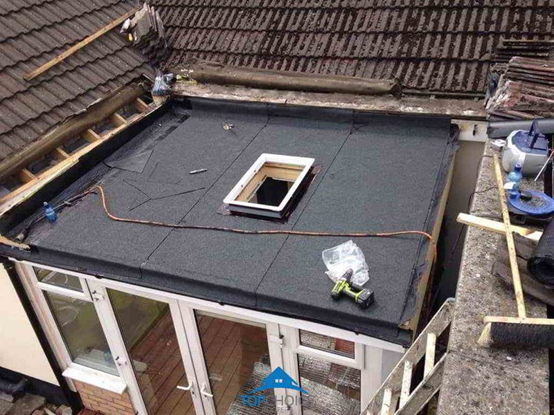 New flat roof after being laid on a roof in County Dublin